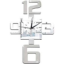 FOOSKOO Wall Clocks Reloj de Pared 3D Espejo Gran Reloj Digital Salón Fondo DIY para Cocina