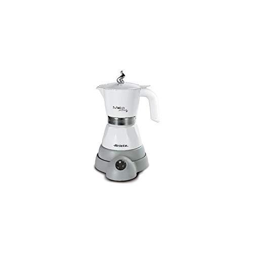 Ariete 1358 Moka Aroma - Moka elettrica 2/4 tazze, 400W, Autospegnimento, Mantenimento temperatura per 30\', Bianco