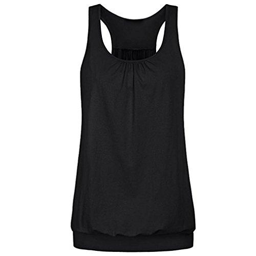 TWBB Damen T Shirt Sommer Irregulär Einfarbig Hemd ohne Ärmel Blusen Faltig Weste O-Ausschnitt Top Oberteile (Asiatische L, Schwarz)