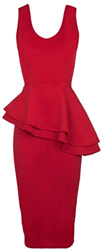 Chocolate Pickle ® Nouveau Femmes Side Slant Double volants moulante Peplum Midi Dress 36-54 red