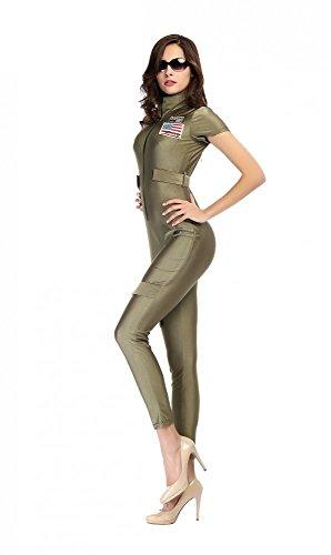 Damen-Kostüm Jetpilotin Catsuit inkl. Brille Overall Pilotin Kampfpilotin, - Kampfpilotin Kostüm