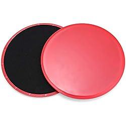 L-MEIQUN,Slider Disc Fitness Ejercicio Abdominal Entrenamiento Rápido(Color:Rojo)
