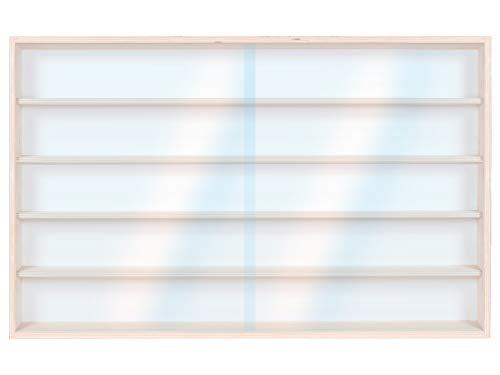 Alsino Vitrine (V115.5) für Modellbau Spur H0 und N aus Birkenholz, mit 2 Glasscheiben von PLEXIGLAS, Maße 115 x 49 x 8,5 cm, Vitrine, Schaukasten, Präsentation, Sammeln