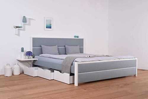 SuMa Wasserbett mit Schubkästen + Bettrahmen Duetto + Nachttischablage + Laken (200 x 220 cm, Mittlere Beruhigung)