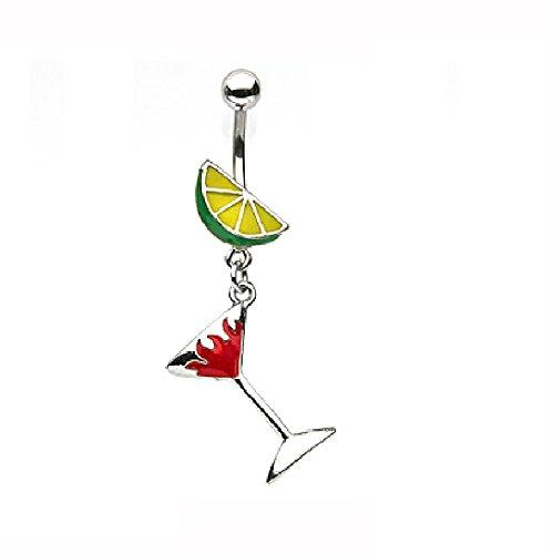 PiercdOff Baumelndes Bauchnabelpiercing, Martini-Glas in Flammendesign mit Limette, emailliert, Gelb
