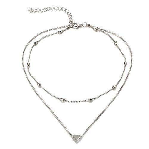 Multistrato cuore, collana girocollo e Acciaio inossidabile, colore: Silver, cod. MultilayerHeartCharmNeckalceSilver