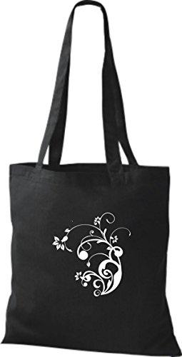 ShirtInStyle Beutel Stoffbeutel Farbe Baumwolltasche Flower Blume diverse Ornament black wrrqZxPn