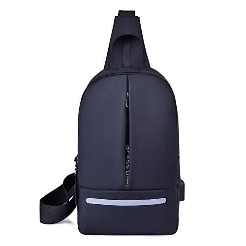 YZJLQML Ladies bagSimple Männer Umhängetasche Brusttasche Männer und Frauen Mode Sport im Freien Anti-Diebstahl-Klassiker Messenger Bag -schwarz