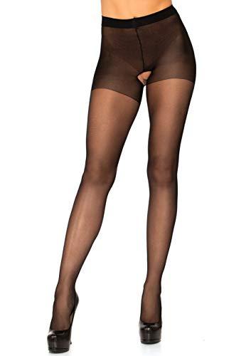 Leg Avenue 1905Q - Plus Größe Transparente Nylon Strümpfhosen, schwarz, Plus Size (EUR 42-46), Dessous Damen Reizwäsche
