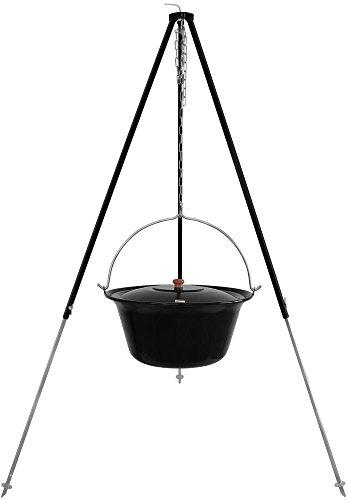 Grillplanet Ungarischer Gulaschkessel 22 Liter Gulaschtopf blau-schwarz emailliert Dreibein-Gestell 180cm Teleskopgestell mit Suppentopf, Glühweintopf mit Deckel | Kesselgulasch Topf Set