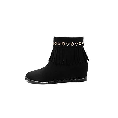 Stiefel |Stivalmit niedrigeren Absätzen Quaste Frauen |Damen College-Schuhe, schwarz, 34