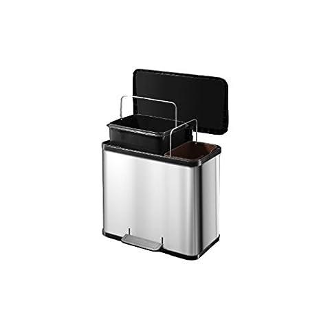 Hailo 0630-019 Trento Duo Eco Rubbish Separator Pedal Bin Stainless Steel 30