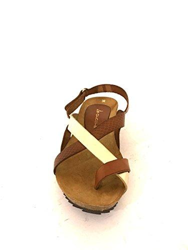 Sandali bassi infradito cc912 in pelle zeppa comoda cuoio oro MainApps Cuoio