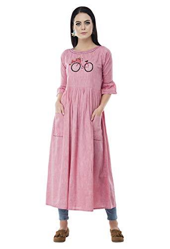 AnjuShree Choice Women's Stitched Printed Rayon Cotton Anarkali Kurti (ASC034NAYOCYCLE-m, Pink, Medium-38)