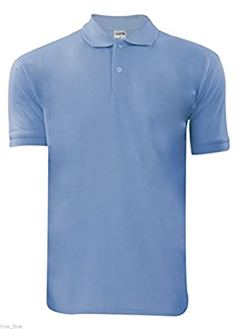 New Mens Plain Poly Cotton Pique Polo Ribbed Collar T- Shirt Casual PK Top (X-Large, Sky)