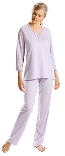 e.FEMME® Damen Schlafanzug JULIET, 50% Baumwolle + 50% Lenzing® Micromodal, Farben: blau und flieder (lavendel), in verschiedenen Größen Flieder