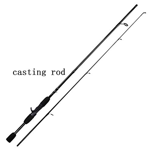 QXADDA Schwarz 1.8M / 2.1M Spinnrute-Test 4-21g Macht Griff Carbon Fiber Spinning Casting Lure Fishing Rod (Color : Navy Blue, Length : 1.8 m)