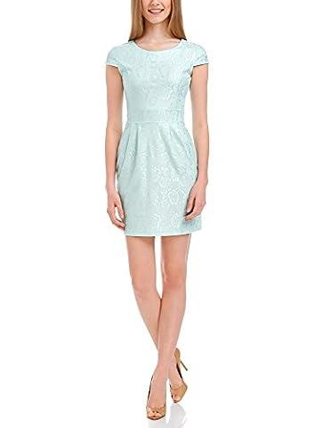 oodji Ultra Women's Lace Jersey Dress, Green, UK 4 / EU 34 / XXS