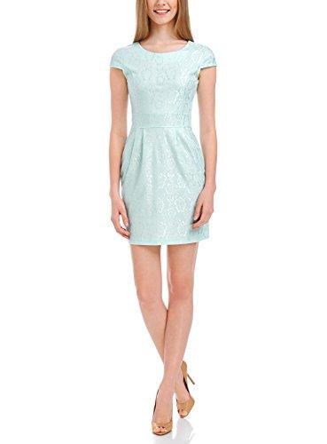 oodji Ultra Damen Jerseykleid mit Spitzen, Grün, DE 32 / EU 34 / XXS