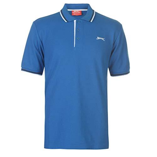 Slazenger Tipped Herren Polo Poloshirt T Shirt Kurzarm Classic Fit Tee Top L -