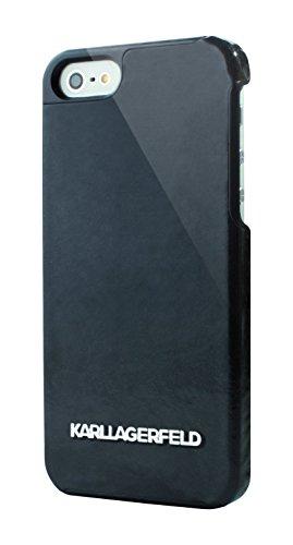 Karl Lagerfeld Kollektion Vinyl Harte Schutzhülle mit Silber Logo für Apple iPhone 5/5S schwarz