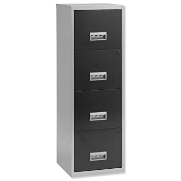 pierre henry 4 drawers maxi filing cabinet silver black