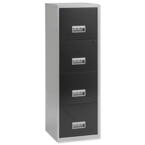 Pierre Henry 095809 - Mueble archivador maxi 4 cajones aluminio, negro