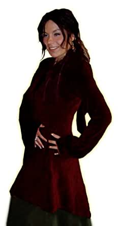 BURGUNDY PIXIE MEDIEVAL POINTY HOOD VELVET TOP DRESS CLOAK L XL 24 26 goth wicca fairy (24/26)