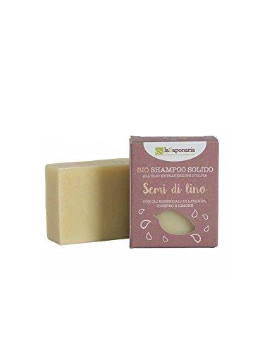 LA SAPONARIA - Savon pour Cheveux à l'Huile de Lin - Pour tous ceux qui veulent éviter les emballages plastiques - Pour tous les types de cheveux - Nettoie en douceur - 100 gr