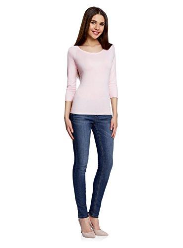 oodji Collection Damen Pullover Basic mit 3/4-Ärmeln Rosa (4000N)