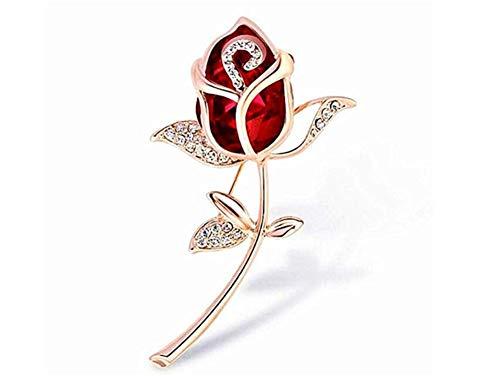 Wimagic 1X Broche Bijoux Femme Fleur Broche Rose Broche epingle a nourrice Rouge Diamant Broche Femme Pas Cher Broche Bijoux Cheveux Mariage Breastpin élégant Bouto