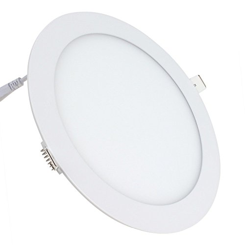 Placa LED SuperSlim Redondo 20W Downlight LED 6000k-6500k Blanco Frío 1800 Lúmenes...
