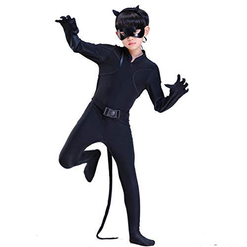 Wetry - 5pcs Cat Noir Kostüm für Kinder Jungen und Mädchen Faschingskostüme Cosplay Unisex (Kostüm Für Jungen Und Mädchen)
