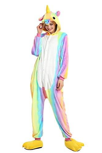Kigurumi Männer Damen Pyjama Kostüm Overall Plüsch Overall Tier Verkleidung für Erwachsen, Regenbogen Pferd