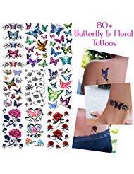 (Temporäre Tattoos Verschiedene Stile und Körperkunst Designs – Fake Tattoos für Erwachsene und Jugendliche Tattoos für Arme Beine Schulter oder Rücken (80+ Schmetterlinge und Blumen))
