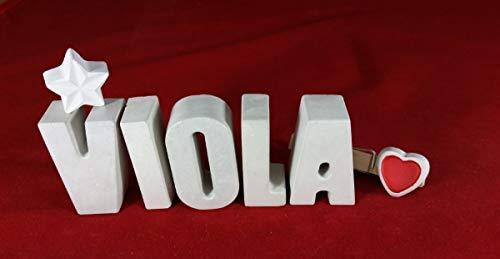 Beton, Steinguss Buchstaben 3 D Deko Schriftzug Namen VIOLA als Geschenk verpackt! Ein etwas ausgefallenes Geschenk zur Geburt, Taufe, Geburtstag, Namenstag oder auch zu anderen Anlässen.