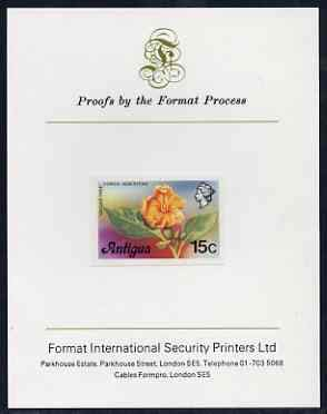 Antigua 1976 Geiger Tree 15c (without imprint) imperf proof mounted on Format International proof card (as SG 477A) FLOWERS TREES JandRStamps