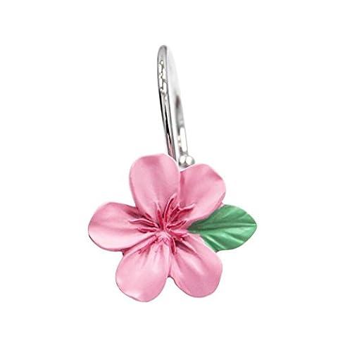 JHBJ Peach Blossom Pink Metal Material Type de pêche Type Crochet de rideau de douche Chaque ensemble de 16 Rideaux de douche
