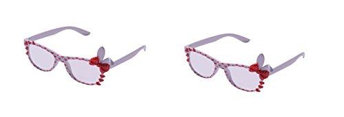 Ultra ® Weiß Cute 3D Multi Color Klarglas Bunny Heart Bow Frames für die Kostüme perfekt Parteien Gläser Geschenk Nerds und Hüfthose (2 weiß) (Cute Girl Nerd Kostüme)