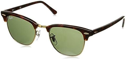 Ray Ban Unisex Sonnenbrille RB3016, Gr. Medium (Herstellergröße: 49), Braun (Gestell: havana, Gläser: grün klassisch W0366)