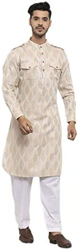 NEUDIS by Dhrohar Woven Floral Pathani Kurta With Pajama set For Men