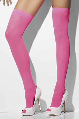 Smiffys Fever Damen Halterlose Strümpfe, Blickdicht, One Size, Neon Pink, 28351