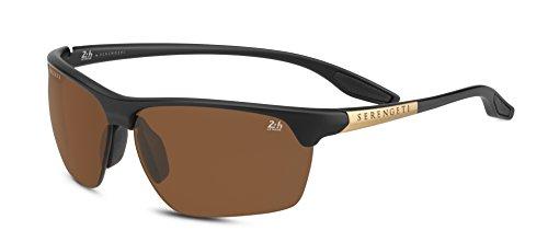 0e79b7c8e5 Serengeti Eyewear Erwachsene Linosa Sonnenbrille, Satin Black/Gold,  Medium/Large