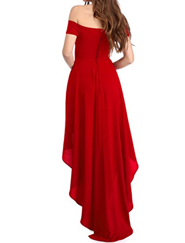NICE BUY Damen Off Shoulder Hohe Niedrige Sommer Party Kleid Chiffon Lange  Abendkleider Rot