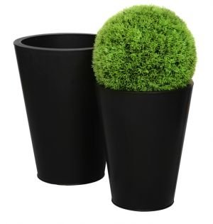 Cache Pot Conique Effet Fonte Noire - Grand - Ardesia Outdoor Patio