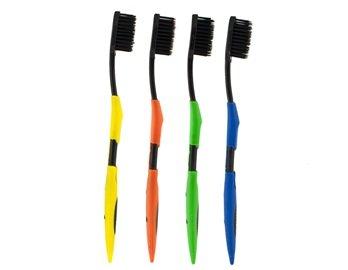 QLPD 4Pcs Zahnpflege Bambus Holzkohle Nano Zahnbürste Set (Über-bord-Öl)