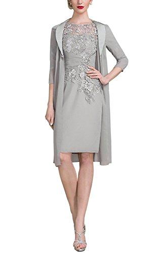YSMO Frauen Chiffon Lace Bodice Mutter der Braut Kleid mit Jacke formelle Kleidung (Mutter Des Bräutigams Kleider)