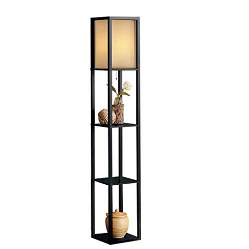 Lampadaire en bois d'éclairage intérieur de 1,6 m avec des étagères pour la chambre et le salon (Couleur : NOIR)