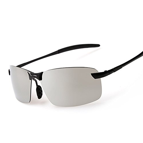VeBrellen Al-Mg Frame Men Sports Sunglasses Driving Eyewear UV400 For Running Fishing Cycling Golf (Black Frame With Silver Lens, 65)