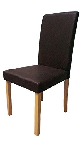 SAM® Polster-Stuhl, Esszimmer-Stuhl in Polster-Farbe antik Optik dunkel-braun, Bein-Farbe in Buche, Massivholz-Beine, Design-Stuhl für Küche und Esszimmer [53261668]